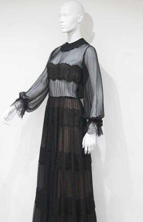 Yves Saint Laurent Haute Couture chantilly lace and chiffon evening gown, c.1970 For Sale 1