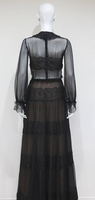 Yves Saint Laurent Haute Couture chantilly lace and chiffon evening gown, c.1970 For Sale 3