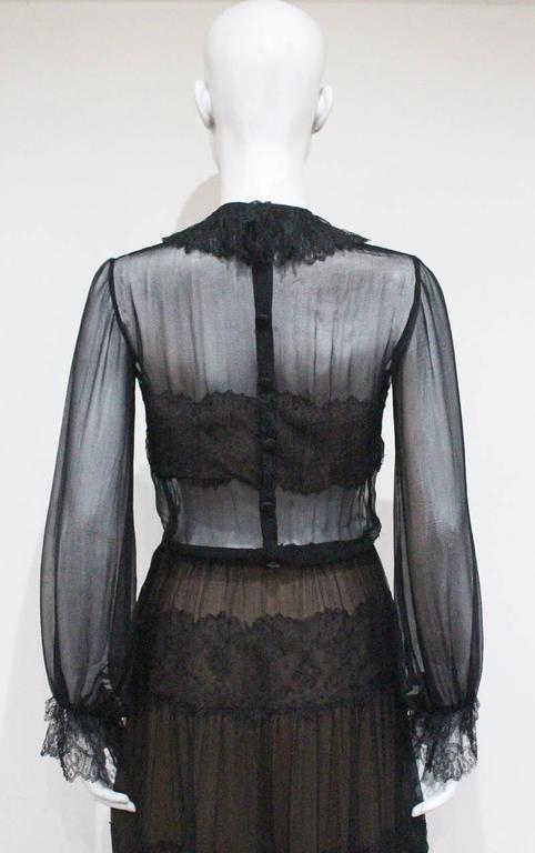 Yves Saint Laurent Haute Couture chantilly lace and chiffon evening gown, c.1970 For Sale 2