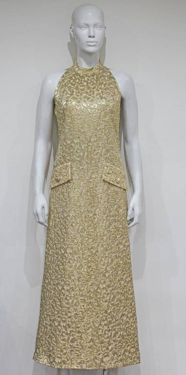 Jean Patou A-line lurex brocade gold evening dress, c.1968 For Sale 1