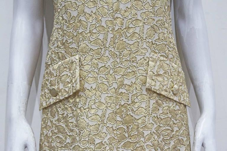 Brown Jean Patou A-line lurex brocade gold evening dress, c.1968 For Sale