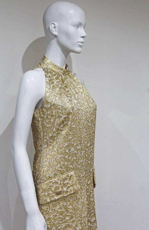 Jean Patou A-line lurex brocade gold evening dress, c.1968 In Excellent Condition For Sale In London, GB