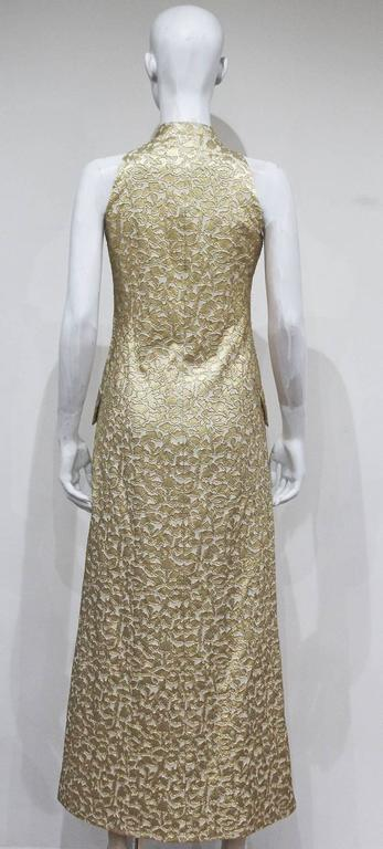 Women's Jean Patou A-line lurex brocade gold evening dress, c.1968 For Sale