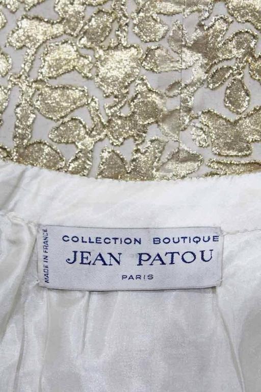 Jean Patou A-line lurex brocade gold evening dress, c.1968 For Sale 2