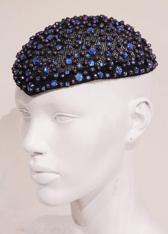 Frank Olive rhinestone embellished skull cap, c. 1950s In Excellent Condition For Sale In London, GB