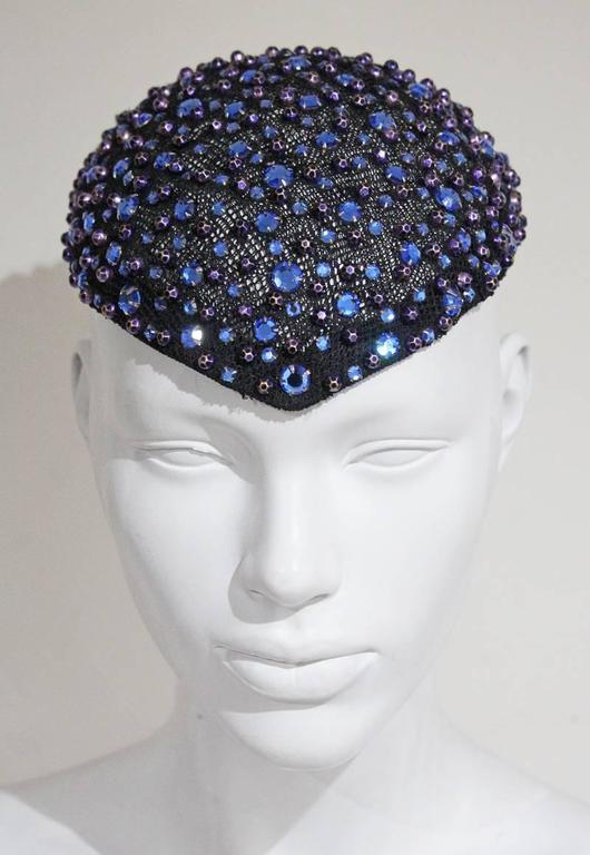 Women's Frank Olive rhinestone embellished skull cap, c. 1950s For Sale
