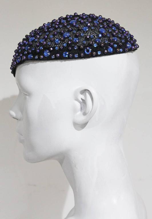 Gray Frank Olive rhinestone embellished skull cap, c. 1950s For Sale