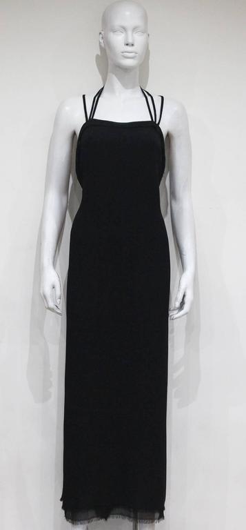Women's Yves Saint Laurent by Tom Ford silk chiffon black evening dress, c. 2001 For Sale