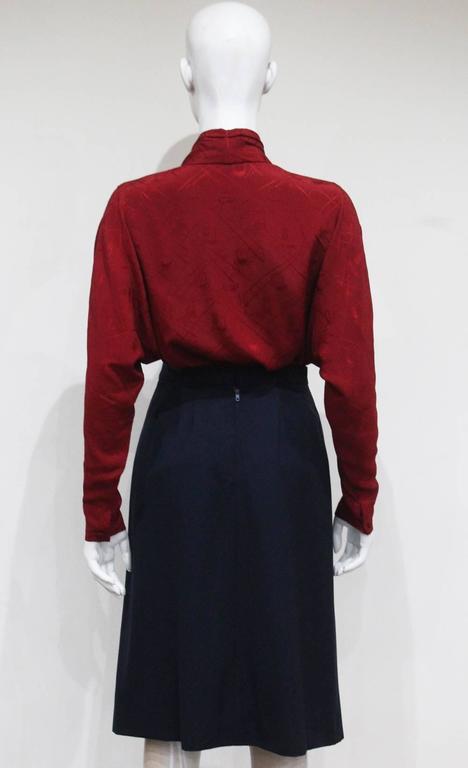 Hermes pleated skirt and silk blouse ensemble, c. 1970s 5