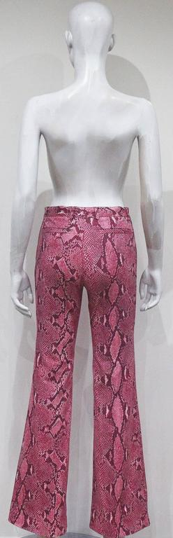 Women's Gucci by Tom Ford Hot Pink Python Print Bell Bottom Pants, c. 2000 For Sale