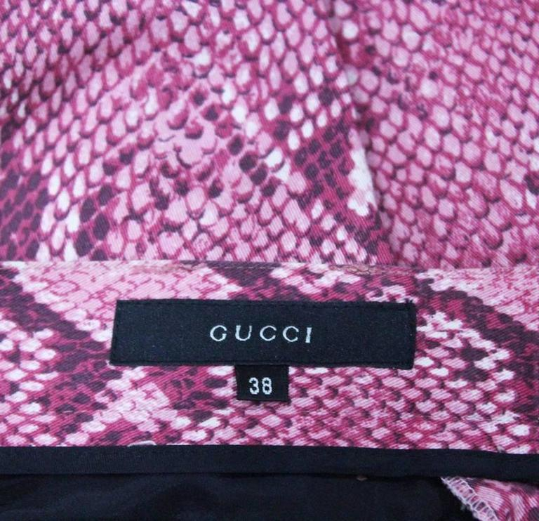 Gucci by Tom Ford Hot Pink Python Print Bell Bottom Pants, c. 2000 For Sale 1