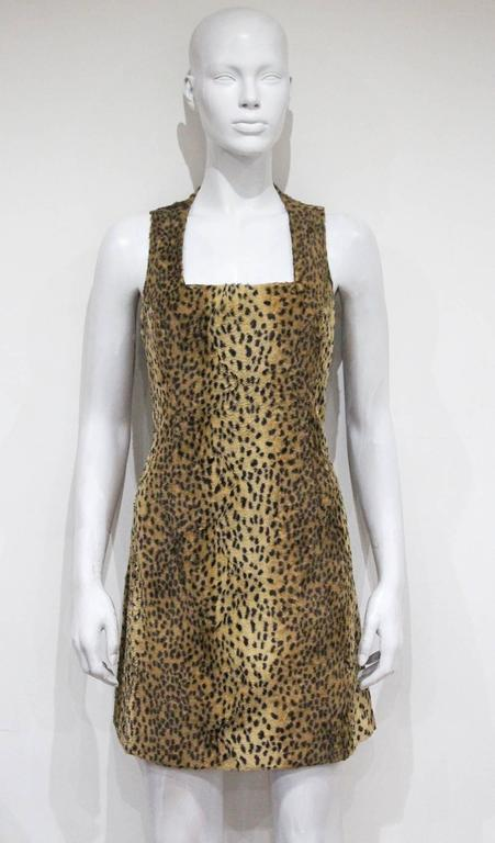 Gianni Versace cheetah print faux fur jacket and dress ensemble, c. 1990s  4