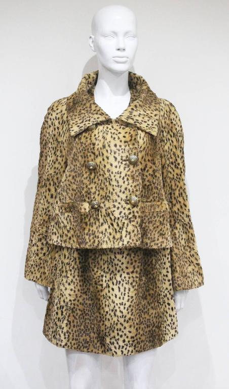 Gianni Versace cheetah print faux fur jacket and dress ensemble, c. 1990s  2