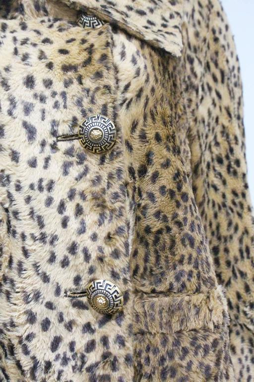 Brown Gianni Versace cheetah print faux fur jacket and dress ensemble, c. 1990s  For Sale