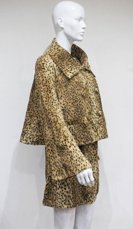 Women's Gianni Versace cheetah print faux fur jacket and dress ensemble, c. 1990s  For Sale