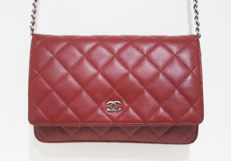 Chanel red caviar quilted cross body wallet-on-chain WOC flap bag For Sale b05c5cc8d7af1