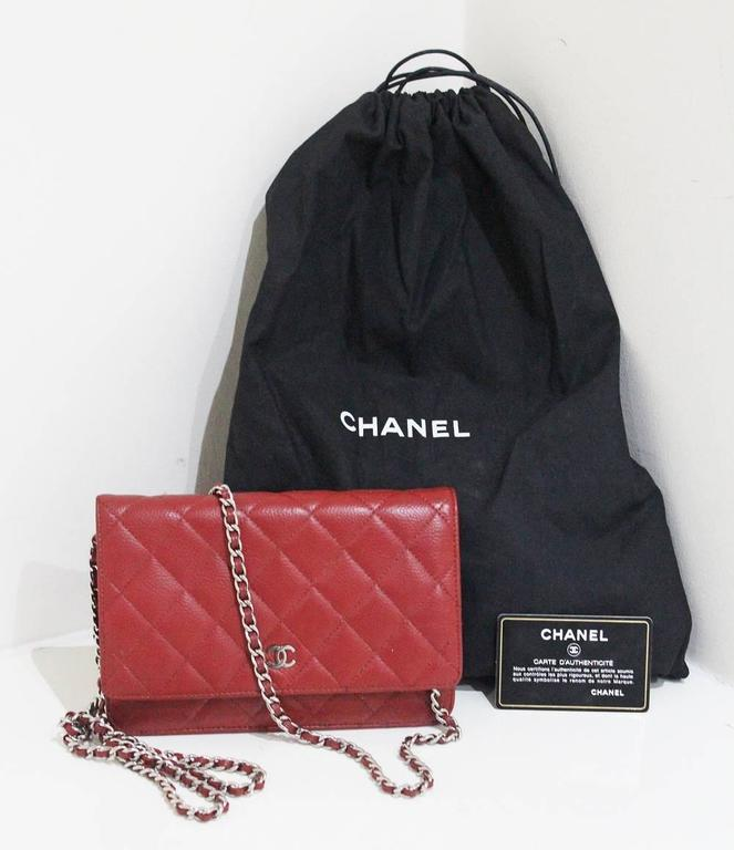 Brown Chanel red caviar quilted cross body wallet-on-chain WOC flap bag For 8b28e26f4b541