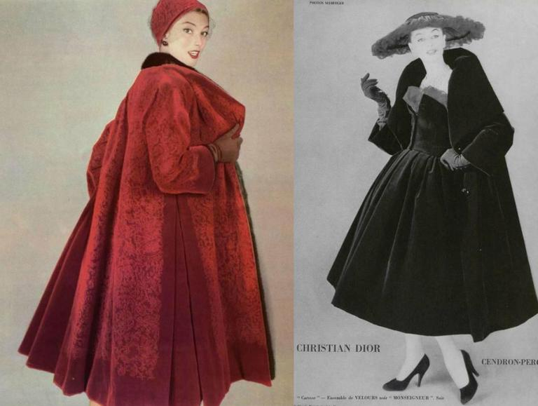 Black Christian Dior Haute Couture silk velvet opera coat, Autumn/Winter 1956 For Sale