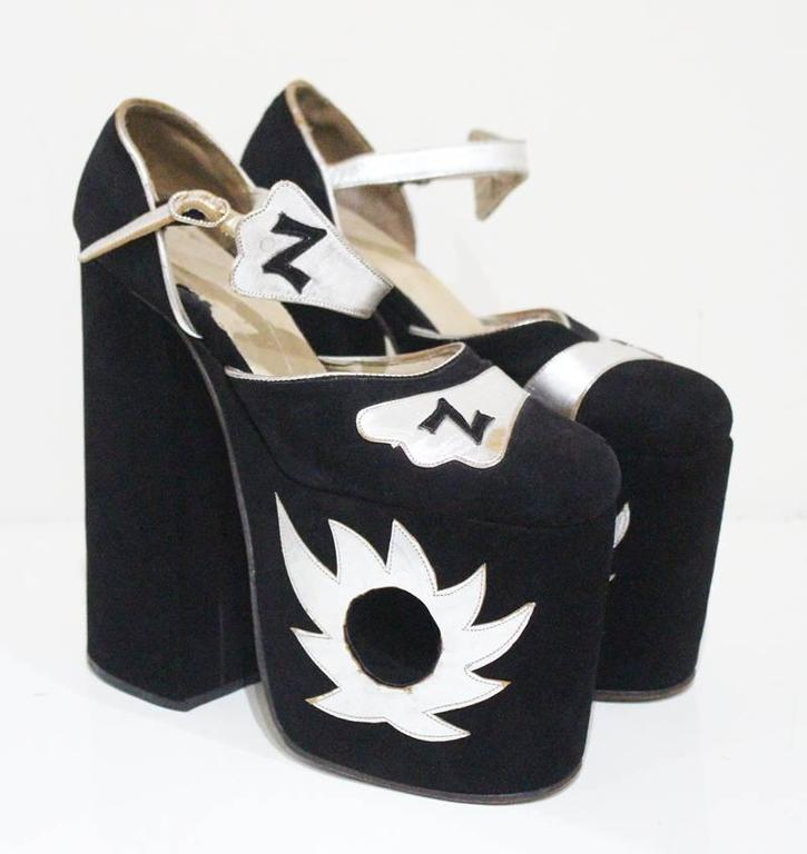 Original Ziggy platforms in black suede and metallic silver leather, c. 1970s  2