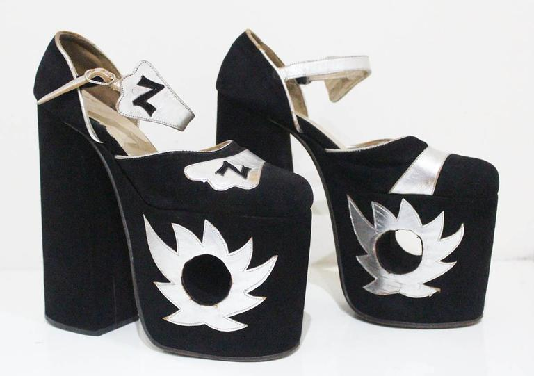 Original Ziggy platforms in black suede and metallic silver leather, c. 1970s  3