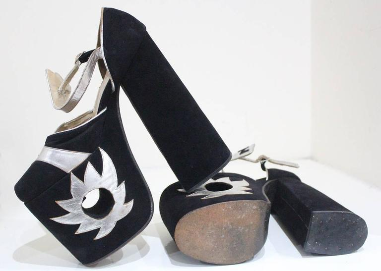 Original Ziggy platforms in black suede and metallic silver leather, c. 1970s  4