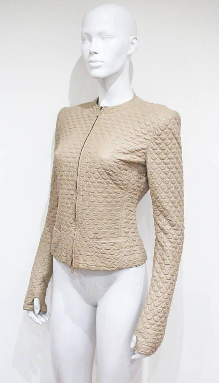 Beige Alexander McQueen quilted nude leather jacket, c. 2004 For Sale