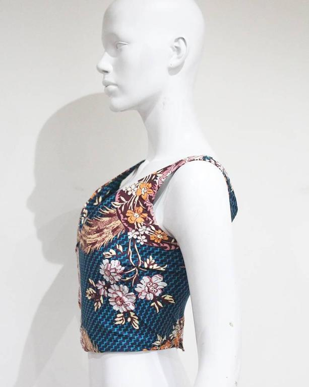 Vivienne Westwood cotton corset with oriental print, c. 1990s In Excellent Condition For Sale In London, GB