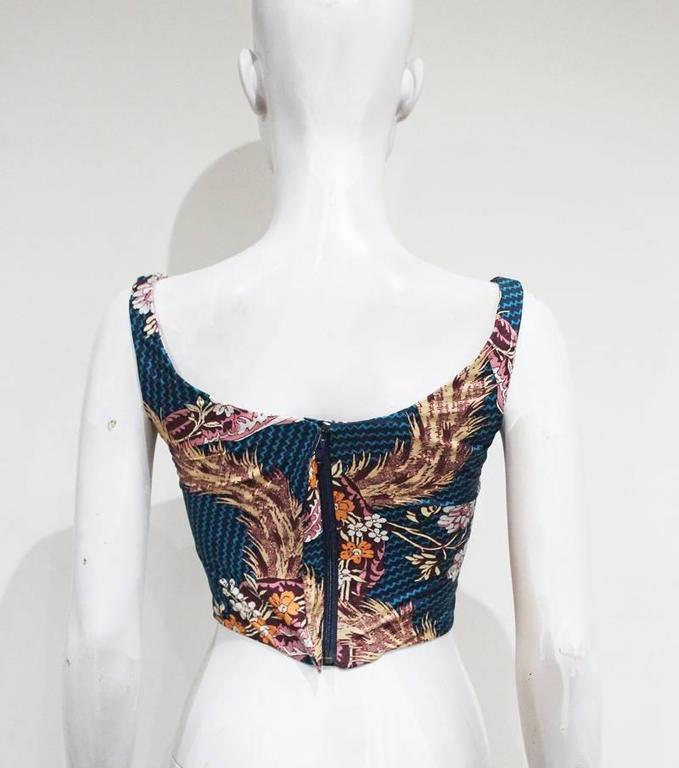 Women's Vivienne Westwood cotton corset with oriental print, c. 1990s For Sale