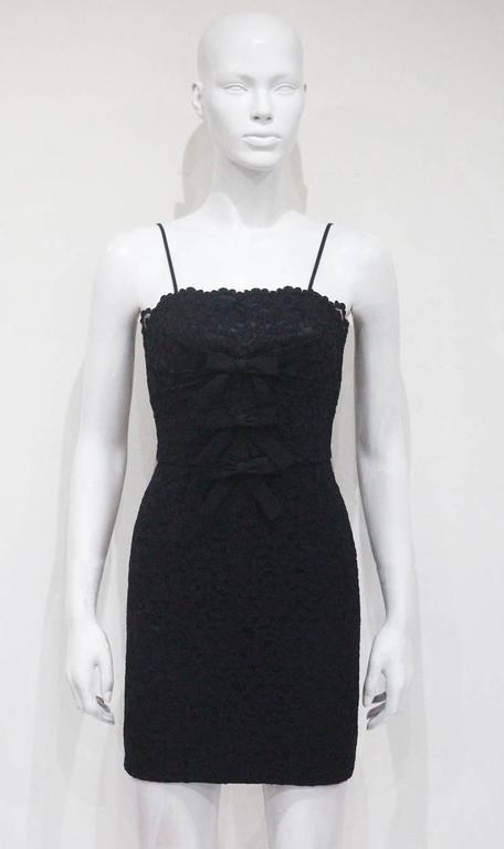 Moschino black mini lace cocktail dress, c.1990s 2