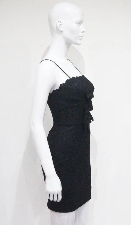 Moschino black mini lace cocktail dress, c.1990s 5
