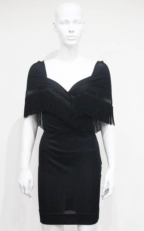 Moschino Black Fringed Shawl Mini Dress, c. 1990s For Sale 3