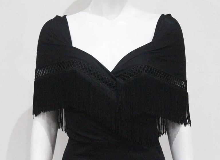 Moschino Black Fringed Shawl Mini Dress, c. 1990s 2