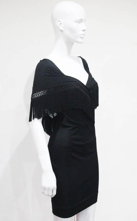 Moschino Black Fringed Shawl Mini Dress, c. 1990s In Excellent Condition For Sale In London, GB