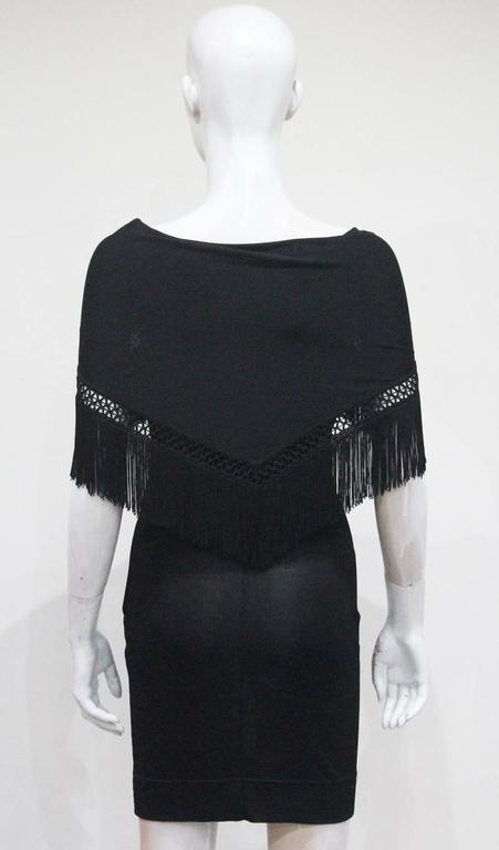 Women's Moschino Black Fringed Shawl Mini Dress, c. 1990s For Sale