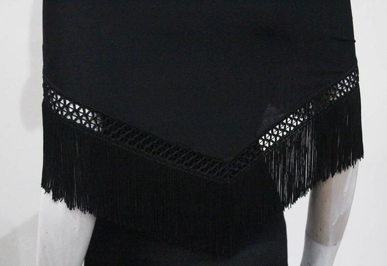 Moschino Black Fringed Shawl Mini Dress, c. 1990s For Sale 1