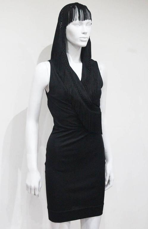 Moschino Black Fringed Shawl Mini Dress, c. 1990s For Sale 2