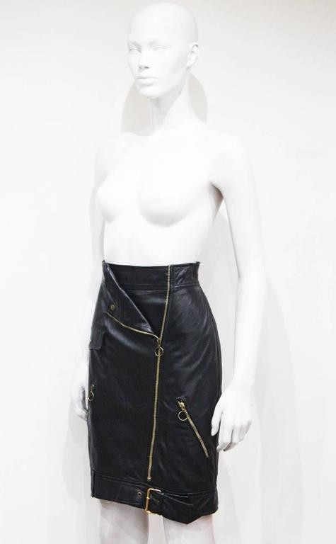 Black Moschino black leather biker skirt, c. 1990s For Sale