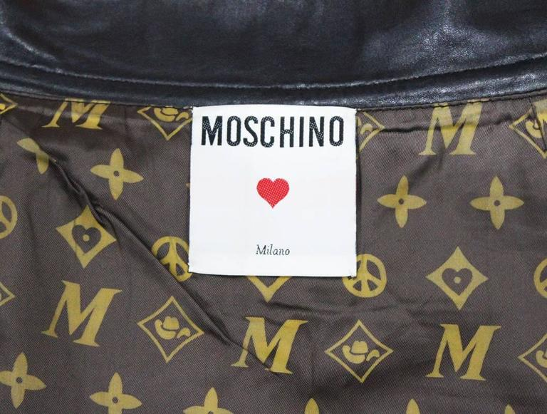 Moschino black leather biker skirt, c. 1990s In Good Condition For Sale In London, GB