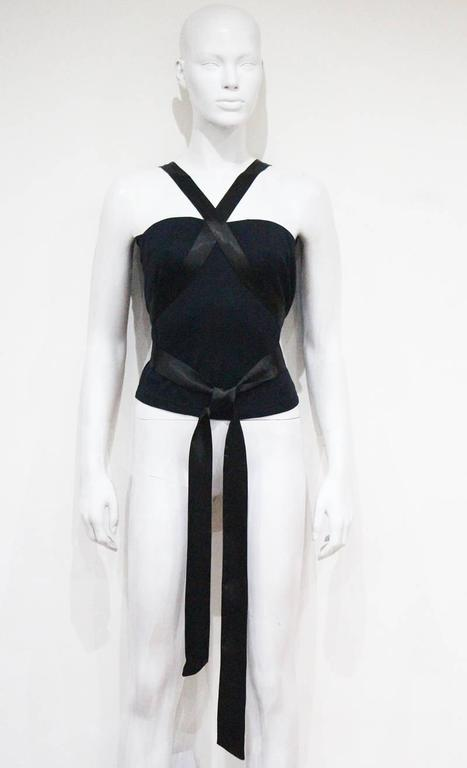 Alexander McQueen black jersey and satin bondage evening vest, c. 1990s 2