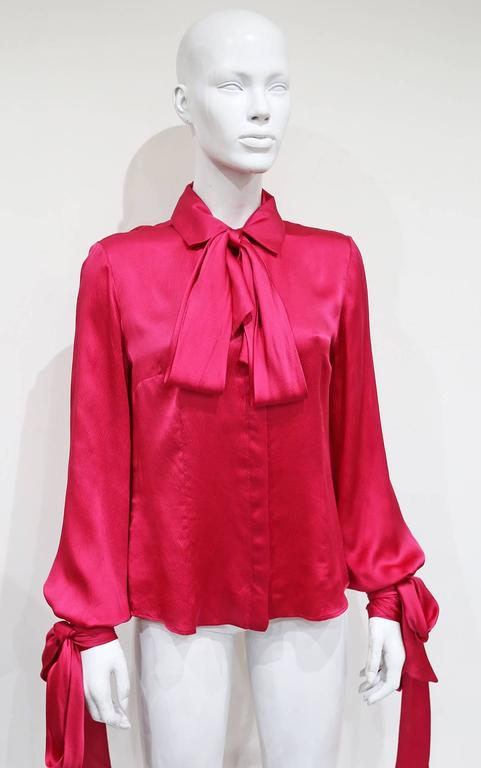 Red Alexander McQueen fuchsia pink silk evening blouse, c. 2008  For Sale