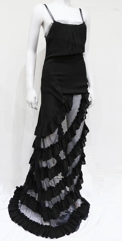 Alexander McQueen black ruffled evening dress, c. 1999 For Sale 1