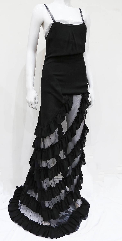 Alexander mcqueen black ruffled evening dress c 1999 for for Alexander mcqueen wedding dresses price
