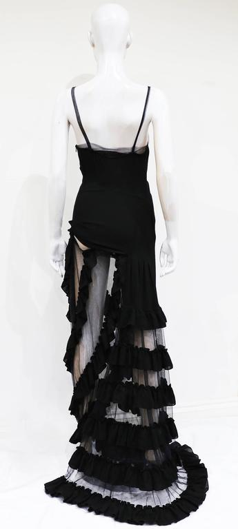 Black Alexander McQueen black ruffled evening dress, c. 1999 For Sale