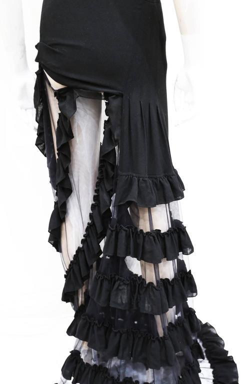 Women's Alexander McQueen black ruffled evening dress, c. 1999 For Sale