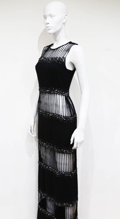 Hardy Amies Haute Couture embellished cut out evening dress, c. 1960s 3