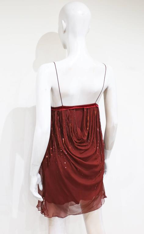 Christian Dior red silk chiffon and velvet embellished evening dress, c. 2005 In Excellent Condition For Sale In London, GB