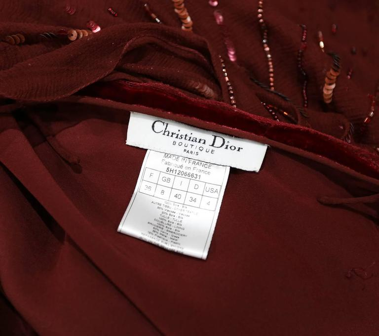 Christian Dior red silk chiffon and velvet embellished evening dress, c. 2005 For Sale 1