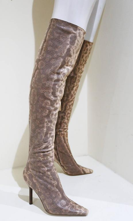 Gucci By Tom Ford Over The Knee Skin Tight Lizard Boots C