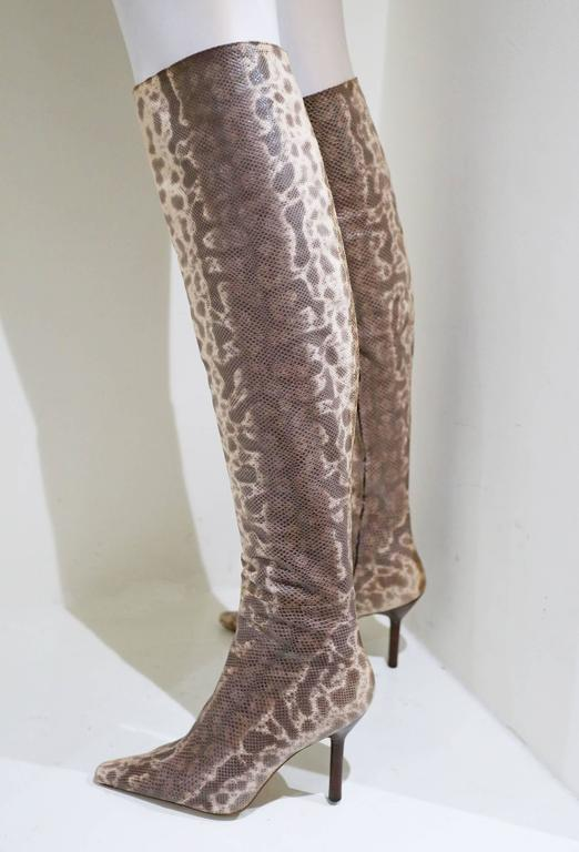 Women's or Men's Gucci by Tom Ford over the knee skin tight lizard boots, c. 1999 For Sale
