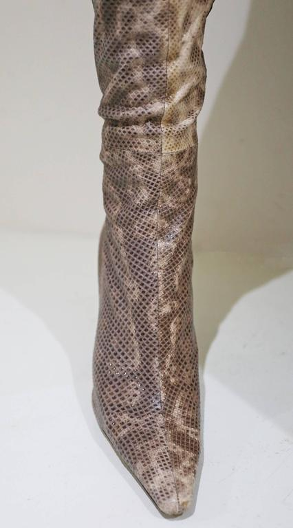 Gucci by Tom Ford over the knee skin tight lizard boots, c. 1999 For Sale 1
